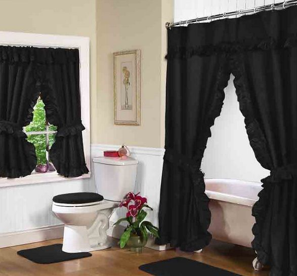 Black Shower Curtains And Accessories For Bathroom Decor Black