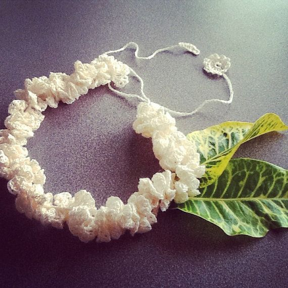 Handmade linen crochet frill necklace choker  White by LOLAsHome, $24.00