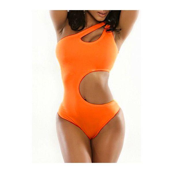 Rotita Hollow Waist One Piece Orange Swimsuit (18 AUD) ❤ liked on Polyvore featuring swimwear, one-piece swimsuits, orange, orange swimsuit, orange bathing suit, 1 piece swimsuit, orange one piece bathing suit and monokini swimsuit