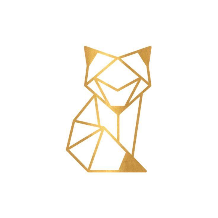 tatouage géométrique génial – Tatouage éphémère ou – Renard Foxy Origami   – Tattoo-Ideen
