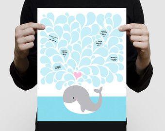 walvis vingerafdruk gast boek baby douche of door creativemonsoons