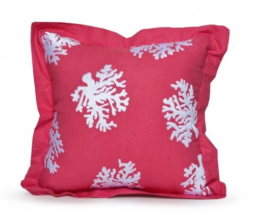 Coral pillow cover made in cotton with hand embroidered sea coral in white thread. This coastal theme beach home decorative pillow cover recalls seaside walks on a plain of coral cotton fabric. Add th