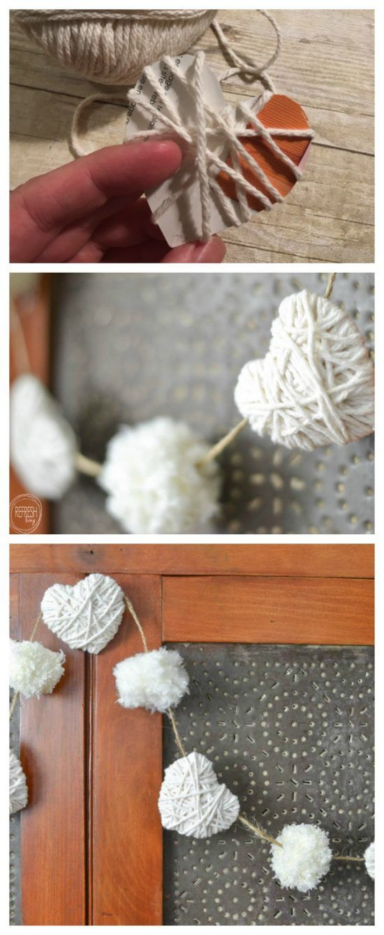 This would be such an easy way to decorate for Valentine's Day. I love the neutral colors and the farmhouse look!
