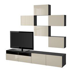 BESTÅ TV storage combination - black-brown/Selsviken high-gloss/beige, drawer runner, push-open - IKEA