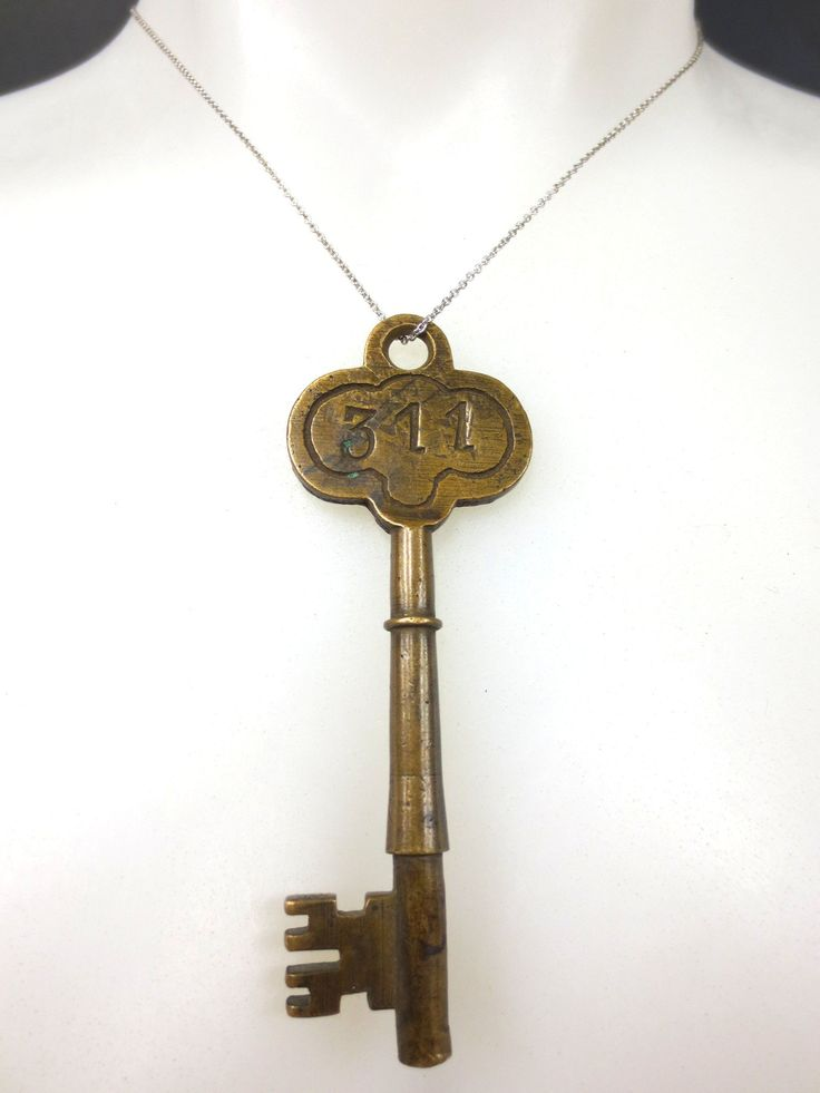Original Antique Brass Hotel Skeleton Key Room Number 311, Solid Barrel, 3 3/8""
