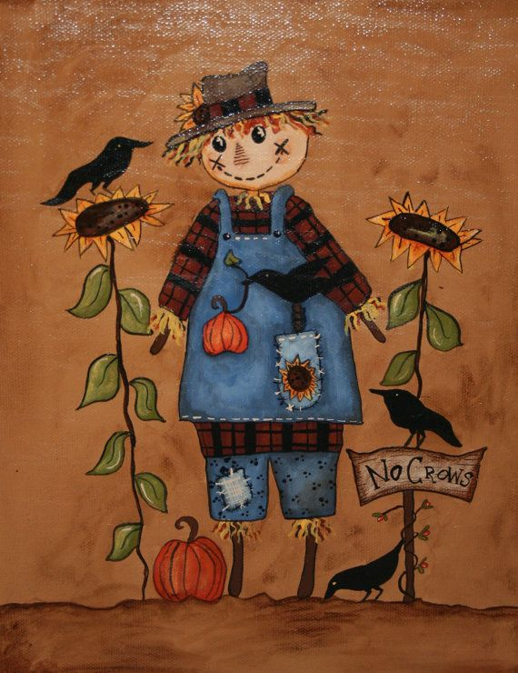 Scarecrow Painting  Fall  Hand Painted on by jennysfolkart on Etsy