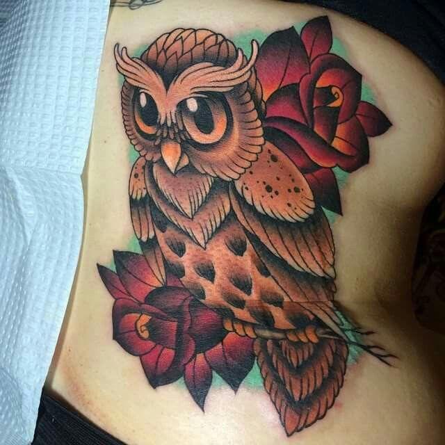Owl & roses by Megan massacre!!!