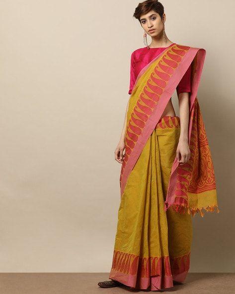 589b024c6 Buy Mustard Yellow Sarees for Women by Indie Picks Online | Ajio.com ...