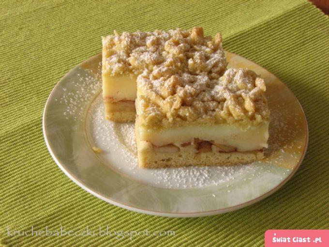 Ciasto kruche z jabłkami i budyniem - Swiatciast.pl