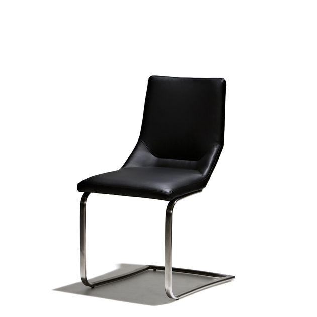 Rival - Stol i konstläder och ben i mattborstat stål. I och med att det inte finns bakben på stolen, ger det ett bekvämt gung.