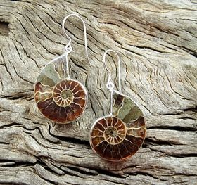 Ammonite Earrings by Entia Silver Jewellery. Available at www.threemadfish.com