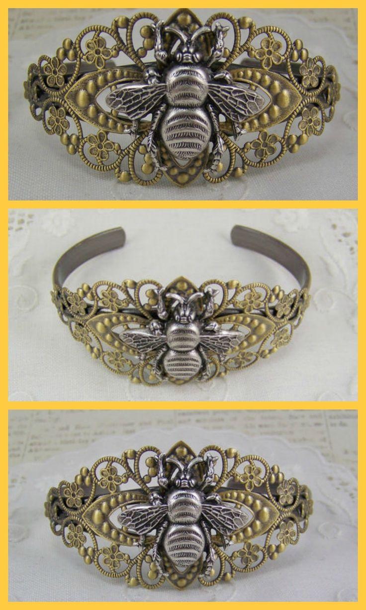Filigree bee bracelet with Silver honeybee, Cuff bracelet, #ad #Etsy #bee #bracelet