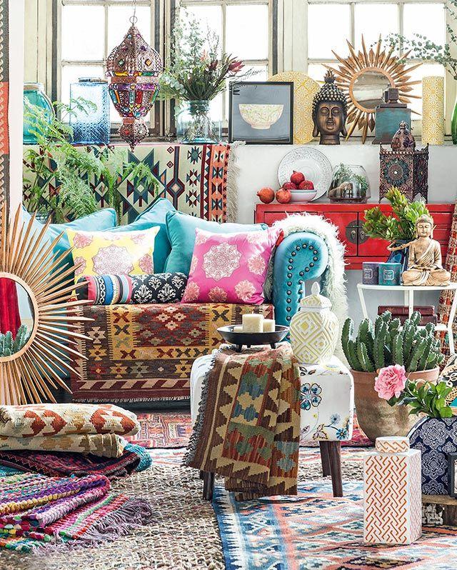 living boho oriental lámparas alfombras