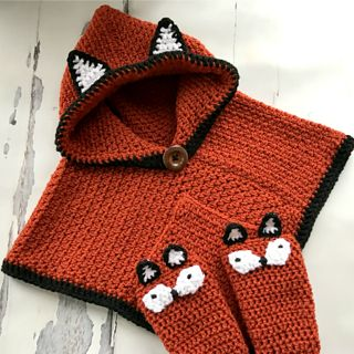Hooded Fox Poncho and Socks pattern by MJ's Off The Hook Designs