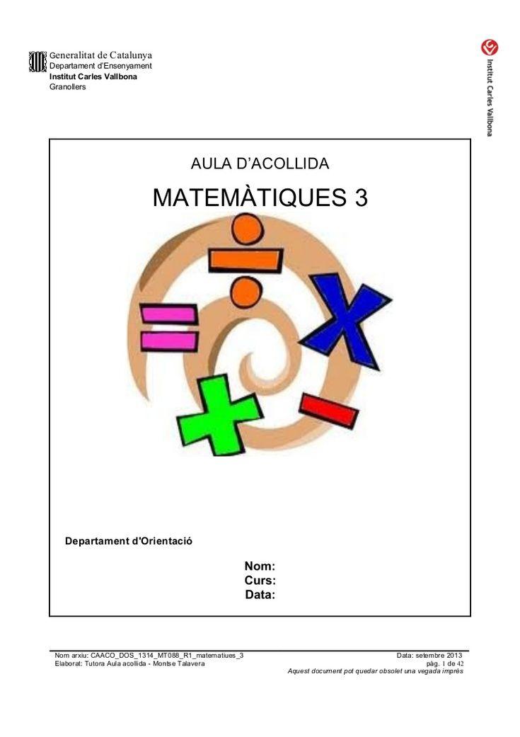 caaco-dos-1314mt088r1matematiques3 by mtalaverxtec via Slideshare DOSSIER DE MATES PER A L'AULA D'ACOLLIDA