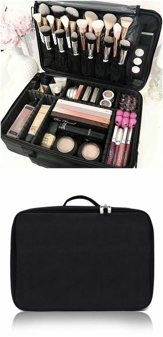 Portable Mini Travel Oxford Soft Makeup Bag with Removable Tray Dividers in  Black --Joligarce makeup bag with brush compartment   cosmetic bag with  brush ... ca5cefc43acfa