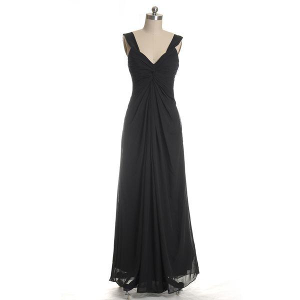 Black Long Chiffon V-neck Bridesmaid Dresses, Full Length Black Ruffled A-line Bridesmaid Gown MD151