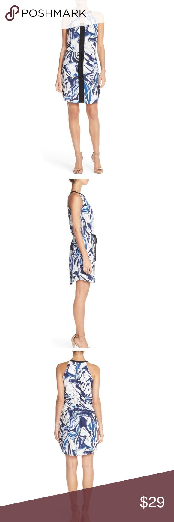 """Adelyn Rae Print Chiffon Sheath Halter Dress A swirling, marbled print in hues of blue heightens the resort-ready appeal of this easygoing dress designed with a sleek halter-style neck and flattering drawstring waist. Midweight, nonstretch chiffon. 33"""" length (size Medium). Halter-style neck. Sleeveless. Elastic drawstring waist. Back hook-and-eye keyhole closure. Fully lined. 100% polyester. Dry clean. By Adelyn Rae Adelyn Rae Dresses"""