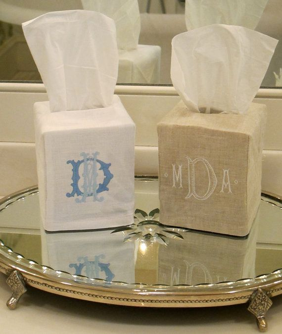 Monogrammed Tissue Box Cover by TheHappyCrabbers on Etsy