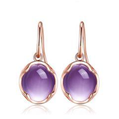 Chiara - Amethyst Rose Gold Drop Earrings