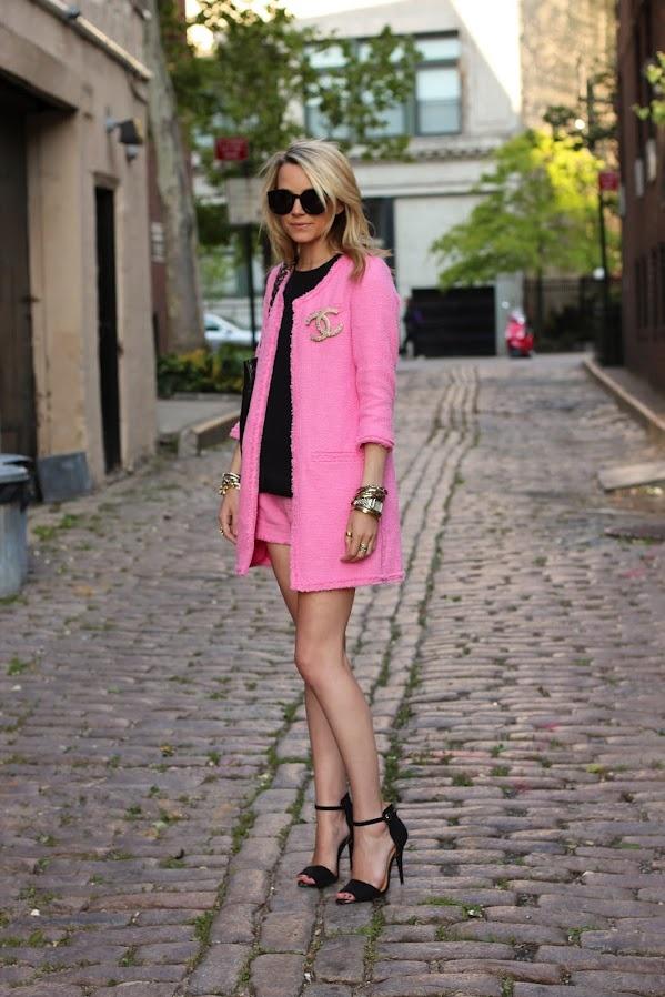 Pepto Pink Zara Jacket and Shorts, Chanel Pin, and Sassy Heels- Adorable!