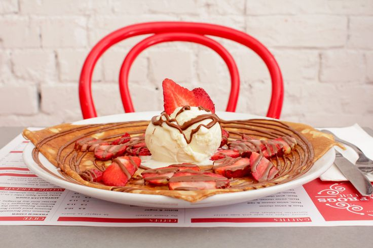 Nutella Strawberry Ice cream crepe - Four Frogs Creperie