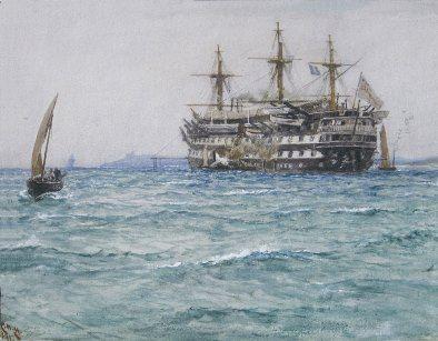 'H.M.S. GANGES' | Charles Napier Hemy: Watercolour     ✫ღ⊰n
