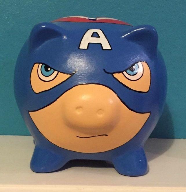 Marvel Captain America inspired Hand Painted Piggy Bank money box Gift birthday £12.99