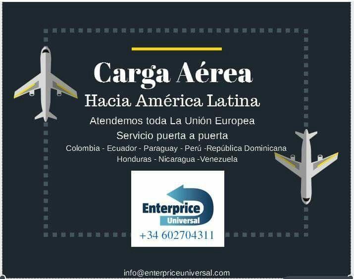 #AmericaLatina servicio de carga aérea.  Material courier y exportaciones.  puerta a puerta. Atendemos toda Europa.  Mas información 602704311 info@enterpriceuniversal.com