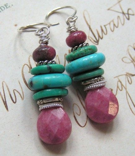Feminine Side of Turquoise/Sleeping Beauty Turquoise, Rhodonite .. Valentines' Day Sale 35% OFF All Reg Jewelry thru Feb 15th!