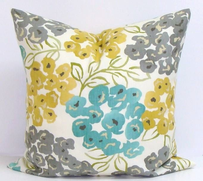 TEAL.GRAY. Yellow.PILLOW.16x16 inch.Housewares.Pillows.Flowers.Home Decor.Floral Slipcovers.Turquoise.Gold.Yellow.Gray.Cream.Green.Teal.Cm by ElemenOPillows on Etsy