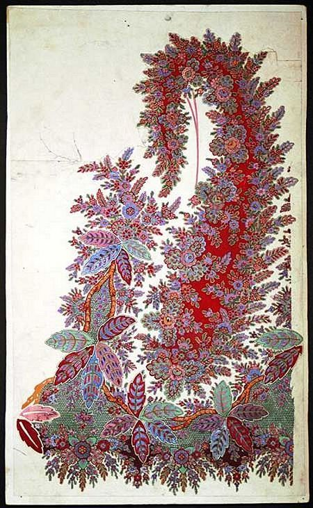 Design for a printed Paisley shawl, hand-painted and mounted on board, 1840s-1850s  Scottish textile heritage