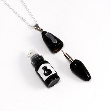 Working Fountain Pen Necklace, $30, now featured on Fab. need this shit