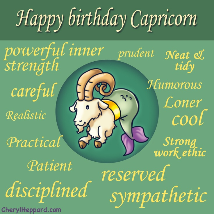 Zodiac birthday graphic: Capricorn