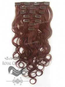 Brazilian 7 Piece Body Wave Human Hair Weft Clip-In Extensions in #33