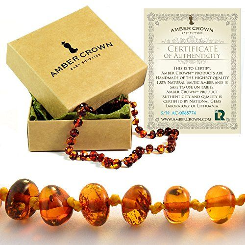 Amber Teething Necklace for Babies – Anti Inflammatory, Drooling and Teething Pain Reducing Natural Remedy – Polished Honey Certified Baltic Amber Beads