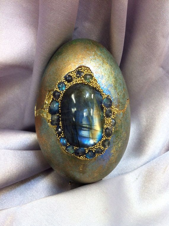 Green/Gold duck egg set with Labradorite and rhinestones on Etsy, $75.00