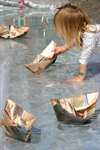 How to Make Paper Boats and Race Them With Your Kids by mykidsadventures. Image source: iStockPhoto #DIY #Kids #Paper_Boats