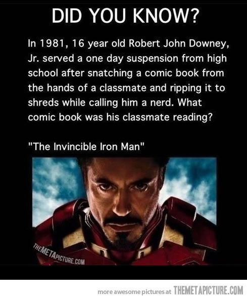 In 1981 a 16 year old Robert Downey Jr. served a one day suspension from his high school...