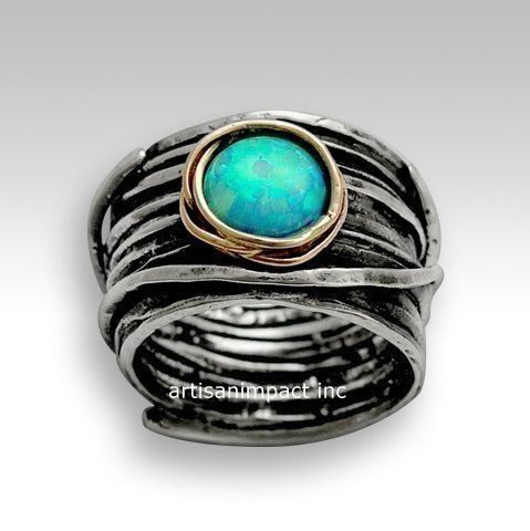 Imagine life in peace ~~~~~~~~~~~~~~ The blue opal is lying safe and protected in 9k rose gold nest. (R1505G). © 2011 Artisanimpact Inc. All rights