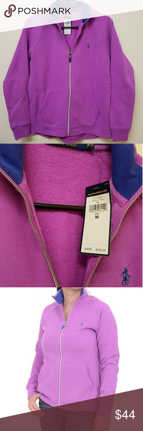 Ralph Lauren Polo Golf Women's Zip Up Sweater Women's Polo Golf Ralph Lauren Zip Up Sweater Fleece with Front Pockets. Purple with Blue Pony Logo Ralph Lauren Sweaters