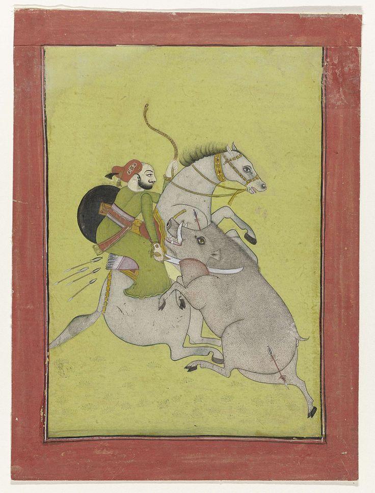 Anonymous | Maharaja Umed Singh, een wild zwijn dodend, Anonymous, c. 1785 - c. 1795 | Maharaja Umed Singh (1749- ca. 1773), vorst van Bundi gezeten op een grijs paard, een wild zwijn dodend.