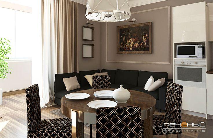 гостиная-кухня в стиле фьюжн, современная белая кухня, студия дизайна интерьера Антона Печёного