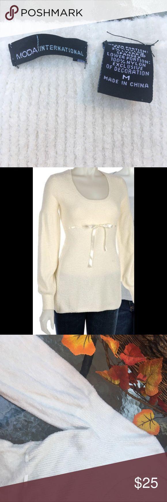 🌍 MODA INTERNATIONAL BABY DOLL SWEATER MEDIUM Beautiful Winter White, VERY SOFT Nylon/Lycra, EUC Moda International Sweaters