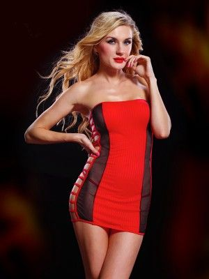 Sexy red strapless mini dress with side hollow out 24 95 http www