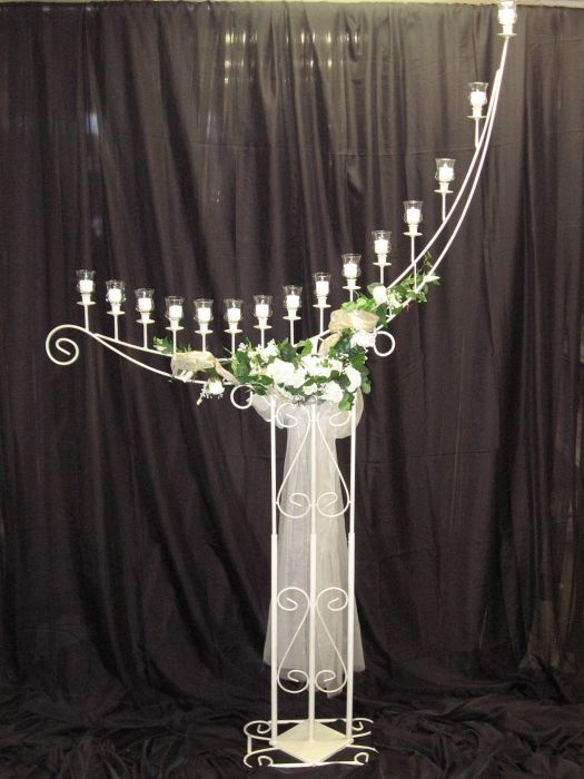 This Bridal Candelabra Includes 15 Glass Votive Holders With Candles Wedding Rental Compliments The Iron Arch Pillars And Half Gazebo