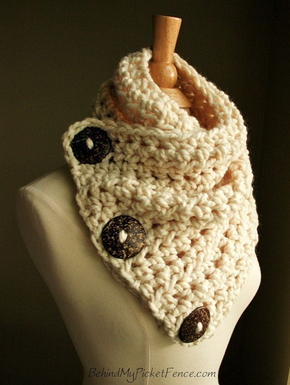The Original BOSTON HARBOR SCARF - Warm, soft & stylish scarf with 3 large coconut buttons - Cream with Brown or Tan Buttons