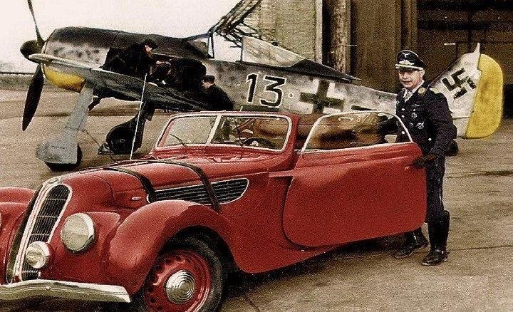 "Josef ""Pips"" Priller and his 2 BMW powered machines. A Focke Wulf 190 and BMW 327/55 | ^ https://de.pinterest.com/nancygebhardt72/kriegsfahrzeuge/"