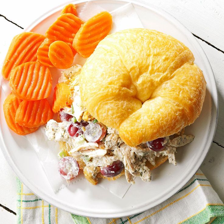 Chicken Salad Croissant Sandwiches Recipe -Parmesan cheese and dill make this the most incredible chicken salad I've ever tasted. For the no-cook version, use canned chicken. These sandwiches are a simple entree to serve at parties, showers or picnics.—Jaclyn Bell, Logan, Utah
