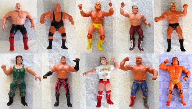 Colección de 10 luchadores WWF 'Titan Sports' de los 80: The Animal Steele, King Kong Bundy, Hulk Hogan, Dynamite Kid, The Hammer Valentine, Corporal Kirchner, Brutus Beefcake, Roddy Piper, The Iron Sheik y Jimmy Superfly Snuka / Collection of 10 action figures from the LJN Wrestling Superstars series ~  Vtg. WWF LJN rubber wrestling figures Titan Sports